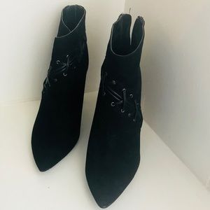 Guess Black Suede Ankle Boots High Heel Zip Trim